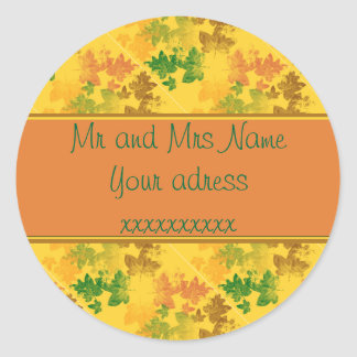 automne patterns round sticker