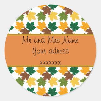 automne patterns round sticker