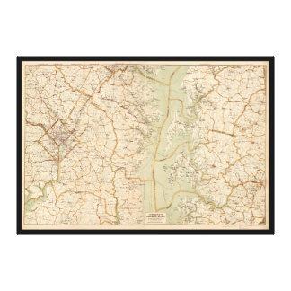 Automobile Map of Washington District (1909) Canvas Print