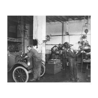 Automobile Repair Shop, 1919 Canvas Print