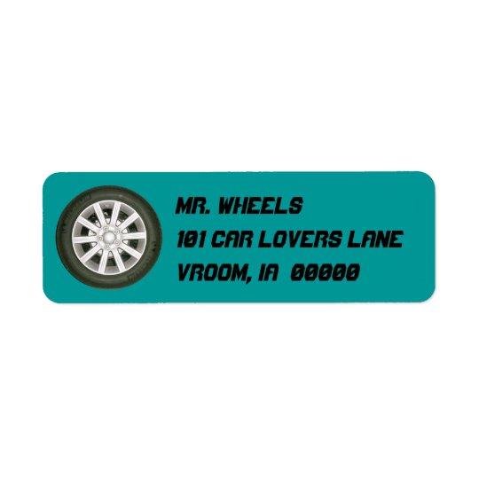 Automobile Wheel Return Address Label