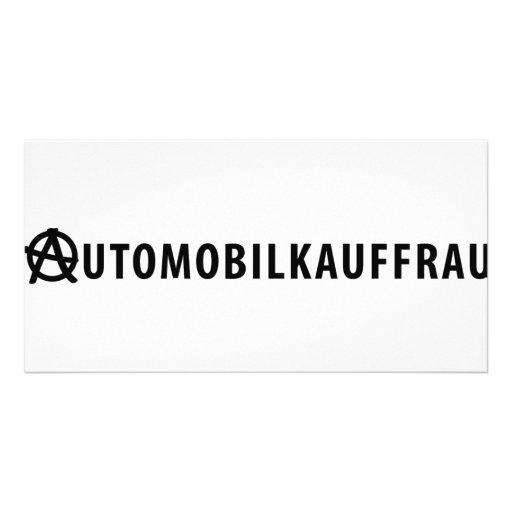 Automobilkauffrau icon photo card template