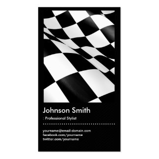 Automotive - Black White Plaid Checkered Flag Business Card