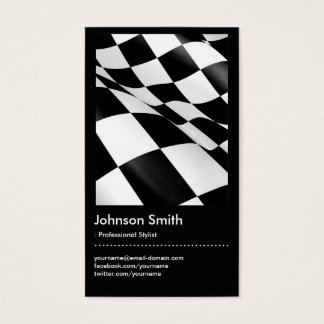 Automotive - Black White Plaid Checkered Flag Business Card