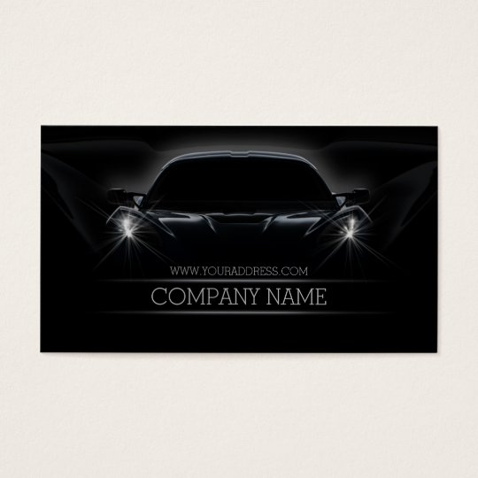 Automotive Car Front Light Black Business Card
