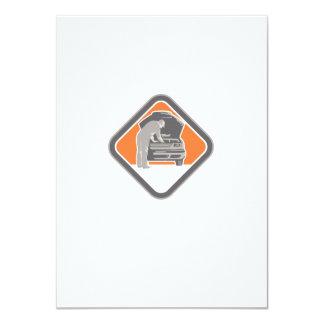 Automotive Mechanic Car Repair Woodcut 11 Cm X 16 Cm Invitation Card