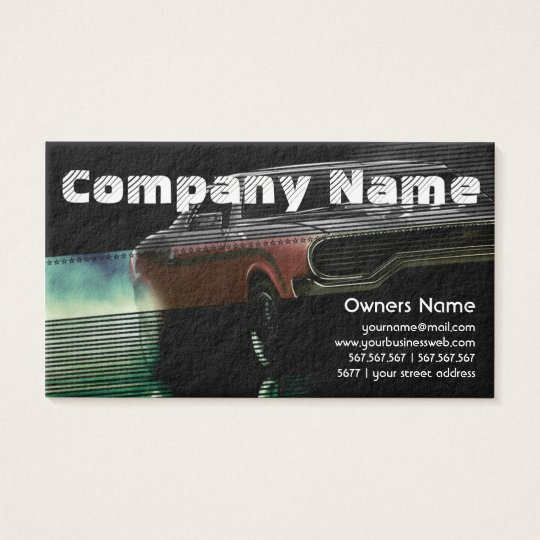 Automotive Red American Retro Muscle Car Business Card