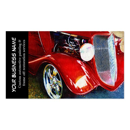 Automotive red classic car auto painting biz business card for Car paint company