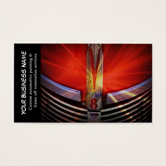 Automotive Red Classic Muscle Hotrod Engine Business Card