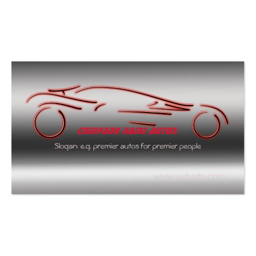 Autotrade Car - Red Sportscar on steel-effect Business Cards