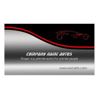 Autotrade Car - Red Sportscar on steel-effect Pack Of Standard Business Cards