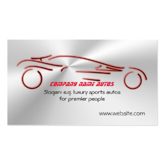 Autotrade - Red Sports Auto on flaring steel-look Pack Of Standard Business Cards
