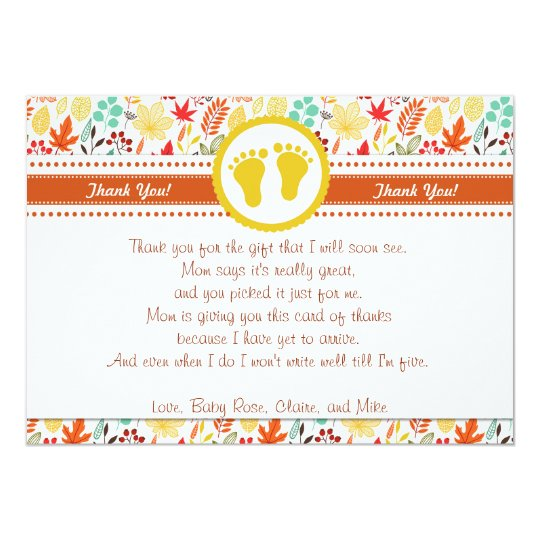 Autum Fall Baby Shower Thank You Card Note
