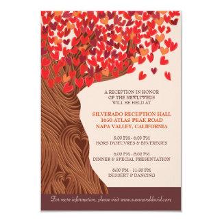Autum Love Oak Tree Wedding Reception Card 9 Cm X 13 Cm Invitation Card