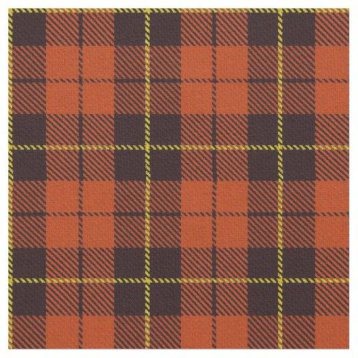 Autum Orange plaid yellow & black stripe Fabric