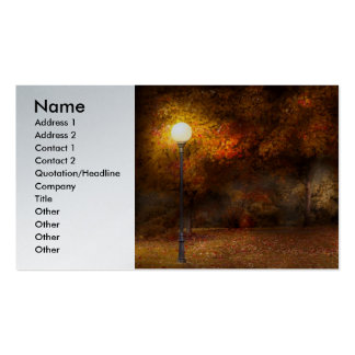 Autumn - A park bench Double-Sided Standard Business Cards (Pack Of 100)