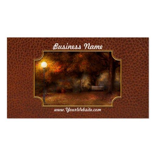 Autumn - A park bench Business Card Templates