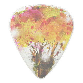 Autumn Abstract Tree Forming By Blots Acetal Guitar Pick