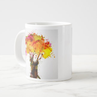 Autumn Abstract Tree Forming By Blots Large Coffee Mug