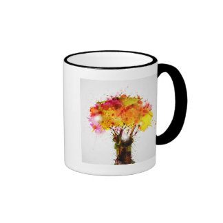 Autumn Abstract Tree Forming By Blots Mugs