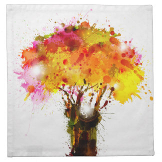 Autumn Abstract Tree Forming By Blots Napkin