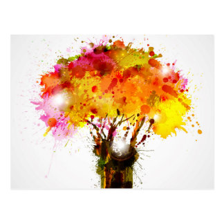 Autumn Abstract Tree Forming By Blots Postcard