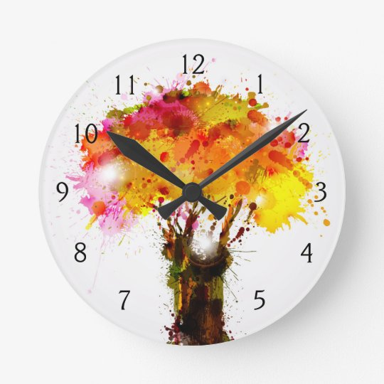 Autumn Abstract Tree Forming By Blots Round Clock