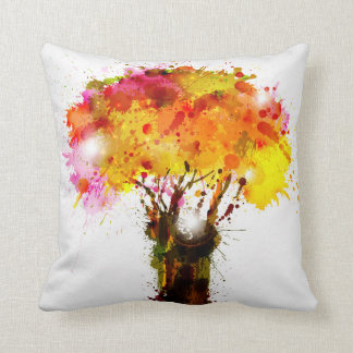 Autumn Abstract Tree Forming By Blots Throw Pillow