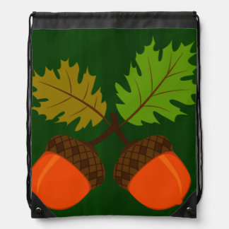 Autumn Acorns Drawstring Bag