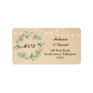 Autumn Address Label Festive Xmas Christmas Wreath