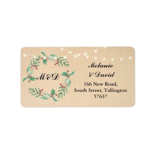 Autumn Address Label Festive Xmas Christmas Wreath