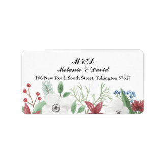 Autumn Address Label Floral Festive Xmas Christmas