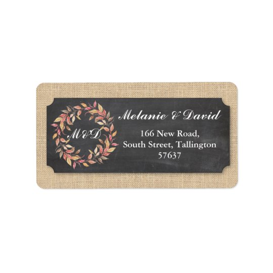 Autumn Address Labels Chalk Burlap Return