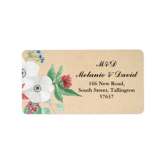 Autumn Address Labels Floral Christmas Wreath Xmas