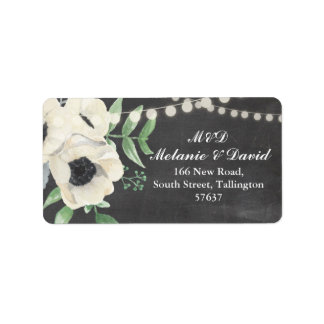 Autumn Address Labels Floral Festive Chalk Xmas