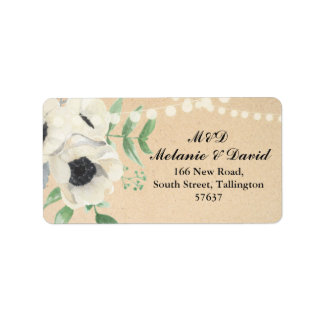 Autumn Address Labels Floral Festive Marble Xmas
