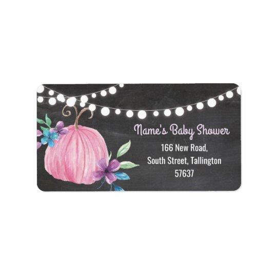 Autumn Address Labels Pumpkin Pink Baby Shower