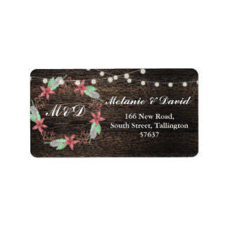 Autumn Address Labels Wood Festive Xmas Wreath