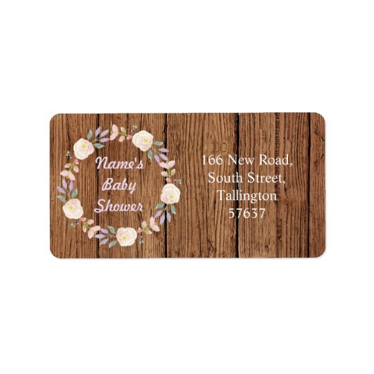Autumn Address Pink Labels Wood Baby Shower