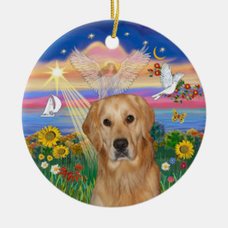 Autumn Angel - Golden Retriever (K) Christmas Ornament