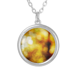 Autumn Angel with Textured Bokeh Round Pendant Necklace