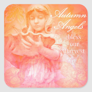 Autumn Angels Bless Our Harvest Square Sticker