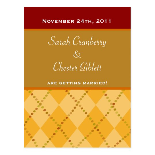 Autumn Argyle Save The Date Postcard