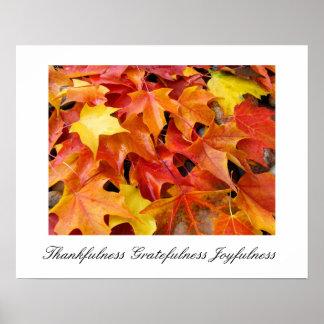 Autumn Art prints Thankfulness Gratefulness Joy Posters