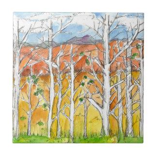 Autumn Aspen Tree Grove Purple Mountains Small Square Tile
