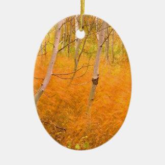 Autumn Aspens And Windblown Grasses Idaho Ornament