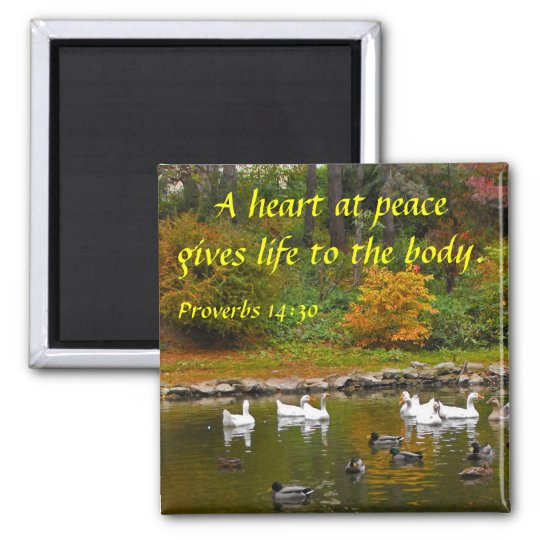 Autumn at the Duck Pond Square Magnet