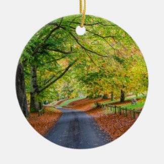 Autumn Avenue Round Ceramic Decoration