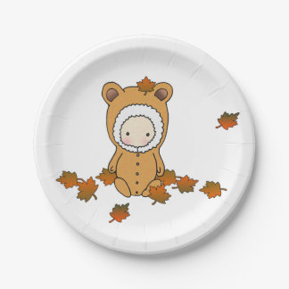 Autumn Baby Sitting in the Leaves 7 Inch Paper Plate