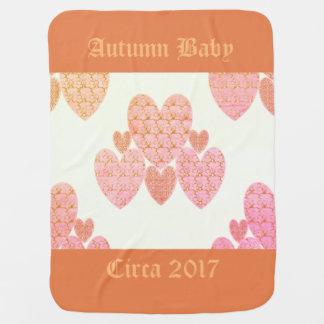 Autumn-Baby-Year-Template-Peachy-Country-Hearts Baby Blanket